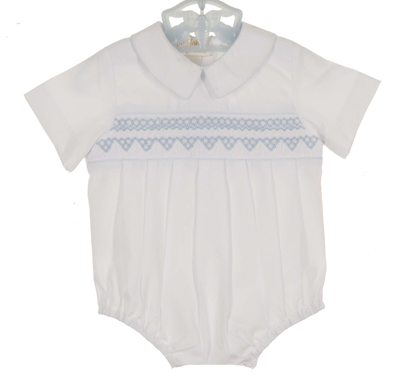 90cd62a8f6bb NEW Rosalina White Smocked Romper with Blue Embroidery