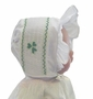 "<img src=""https://p11.secure.hostingprod.com/@grammies-attic.com/ssl/images/blue-sold-1.gif"">  NEW Rosalina White Smocked Bonnet with Shamrock Embroidery"