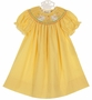NEW Rosalina Yellow Checked Bishop Smocked Dress with Bunnies