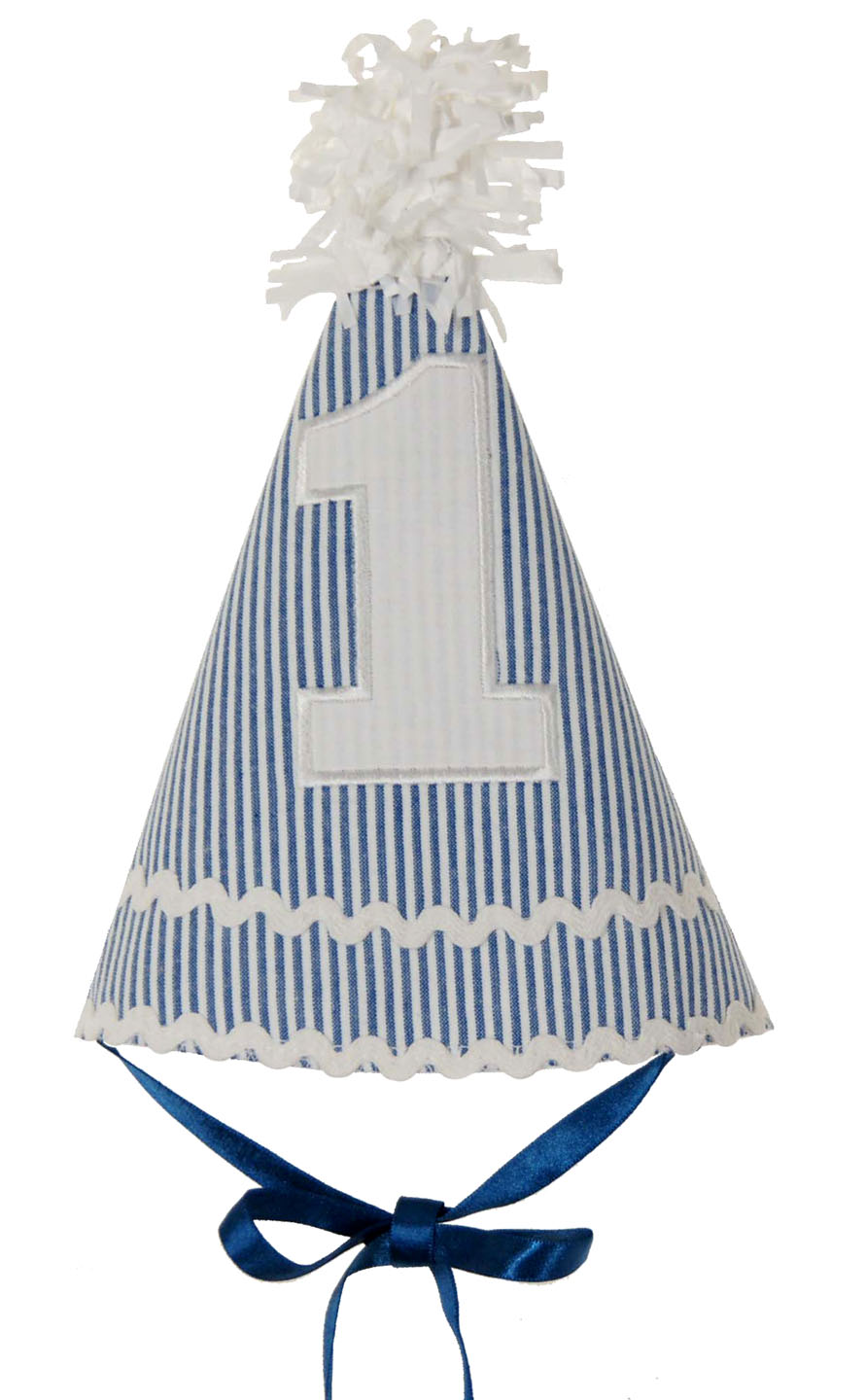 Ruffle Butts Blue Striped Seersucker First Birthday Hatbaby Girls