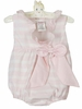 NEW Ruffle Butts Pale Pink Striped Bubble with Pink Ruffled Trim