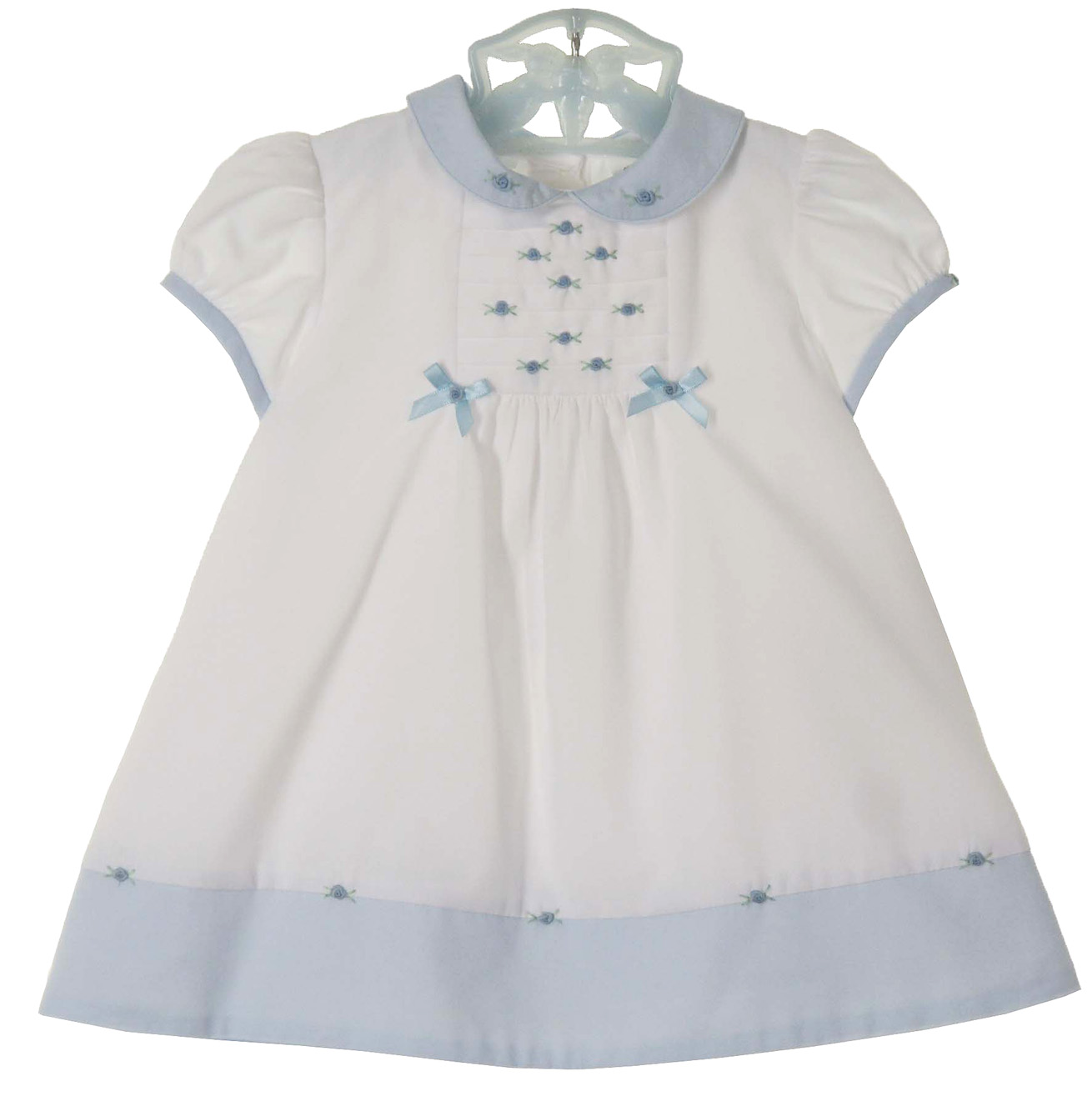 Sarah Louise Vintage Style Dress Blue And White Dress With Rosebuds