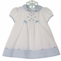 NEW Sarah Louise Vintage Style Blue and White Dress with Blue Embroidered Rosebuds and Bows