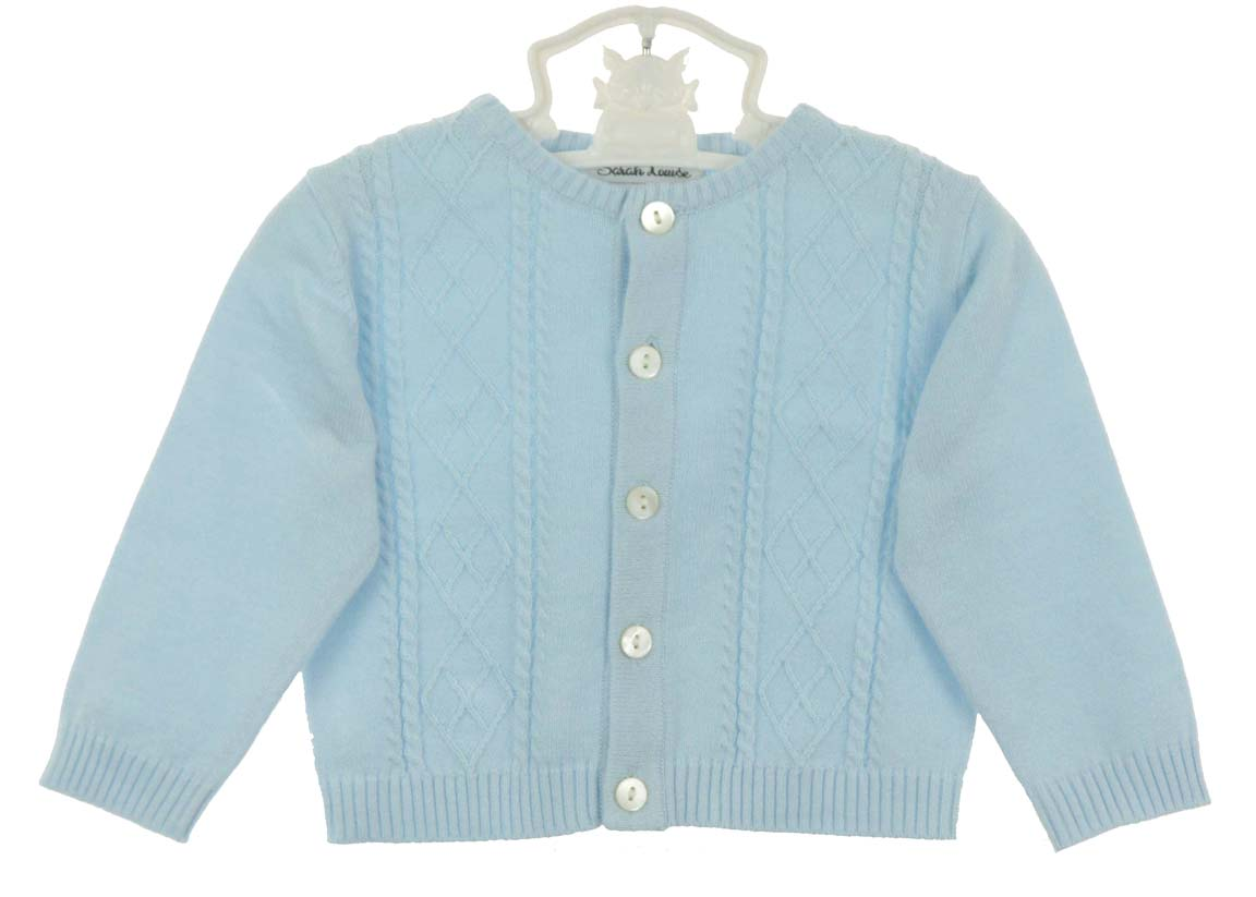 Sarah Louise blue cotton knit baby boy sweater,Sarah Louise blue ...
