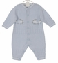 NEW Sarah Louise Blue Cotton Knit Romper with Embroidered Trains