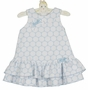 NEW Sarah Louise Blue Dotted Dress with Ruffled Hem and Blue Checked Bows