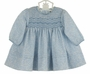 NEW Sarah Louise Blue Flowered Smocked Twill Dress with Tiny Blue Embroidered Flowers