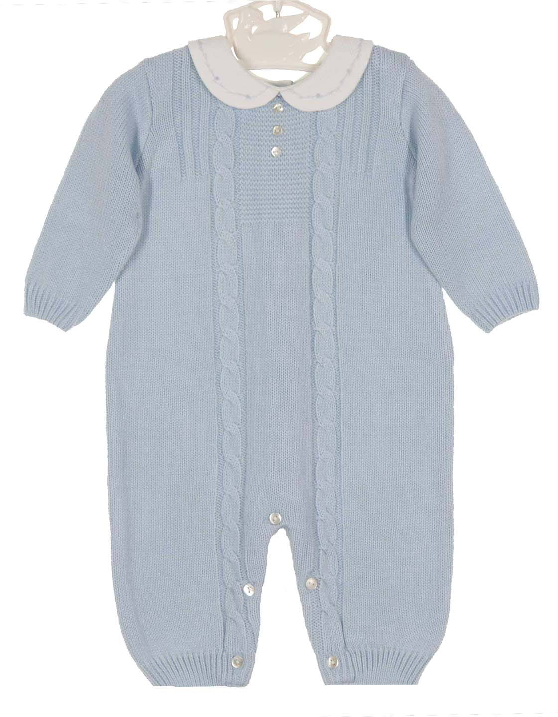 d8a79ccf3 NEW Sarah Louise Blue Knit Romper with Embroidered White Pique Collar