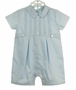 NEW Sarah Louise Blue Pintucked Romper with Featherstitching and Front Tabs and Matching Hat