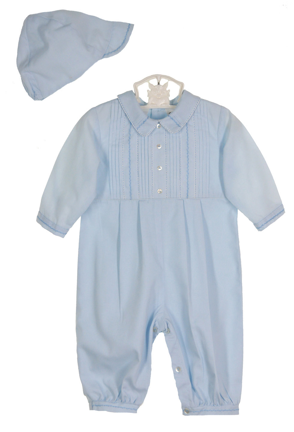 Sarah Louise blue pintucked romper and hat set,blue pintucked romper ...