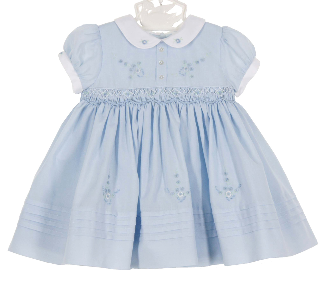 Sarah Louise Vintage Style Blue Smocked Dress Vintage