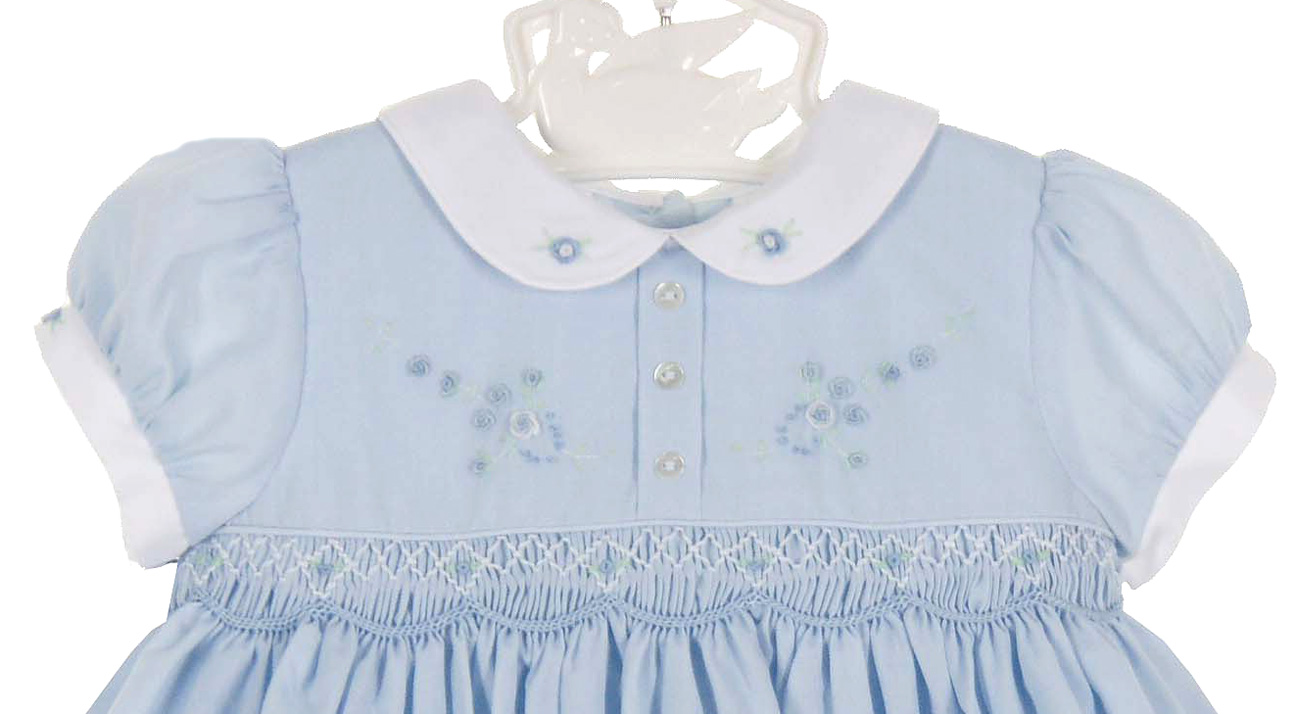 598ce7ba123a2 Sarah Louise vintage style blue smocked dress