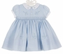 NEW Sarah Louise Blue Smocked Dress with Pintucks and Embroidered Rosebuds