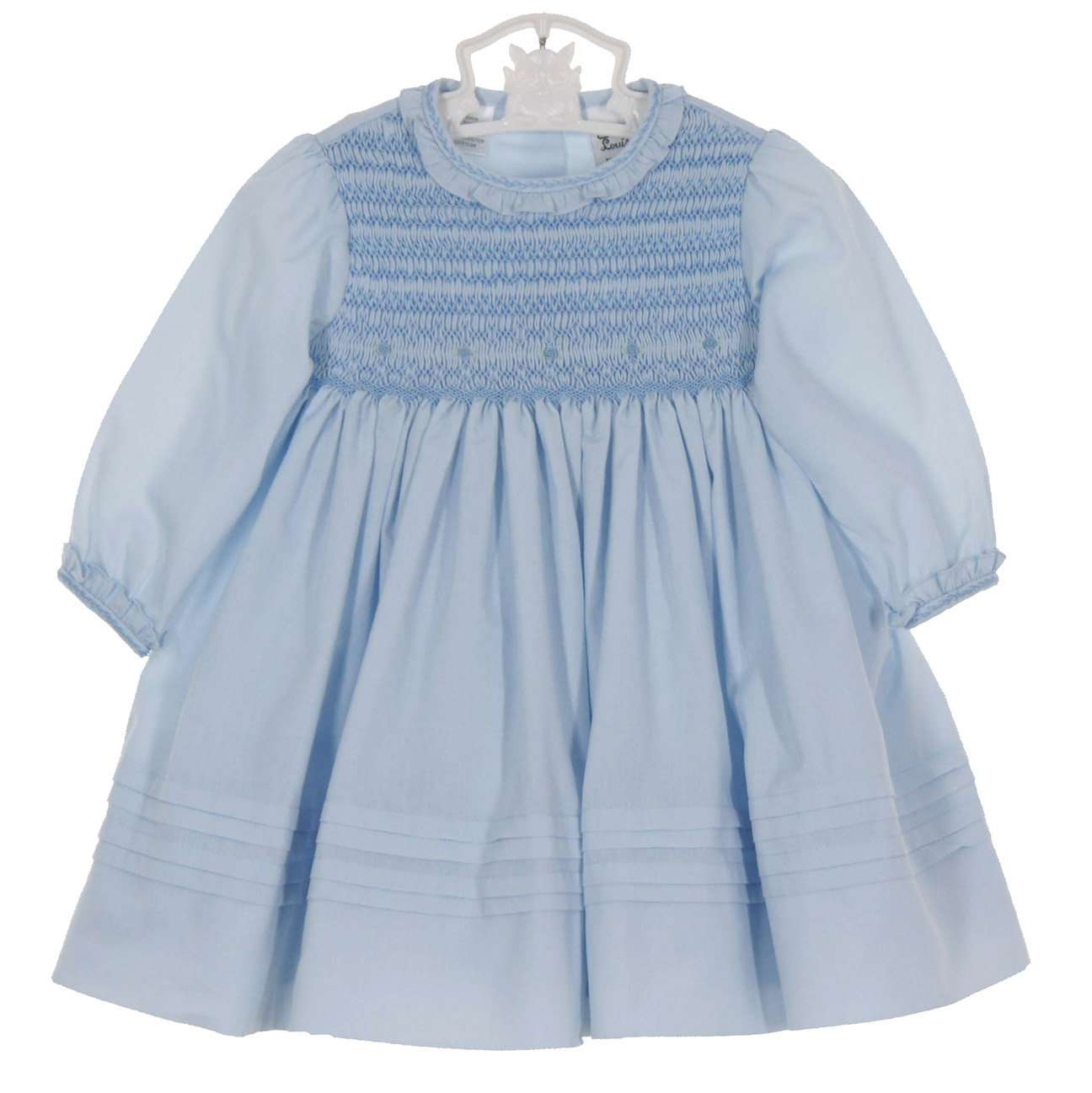Sarah Louise Blue Smocked Dress With Ruffled Collar