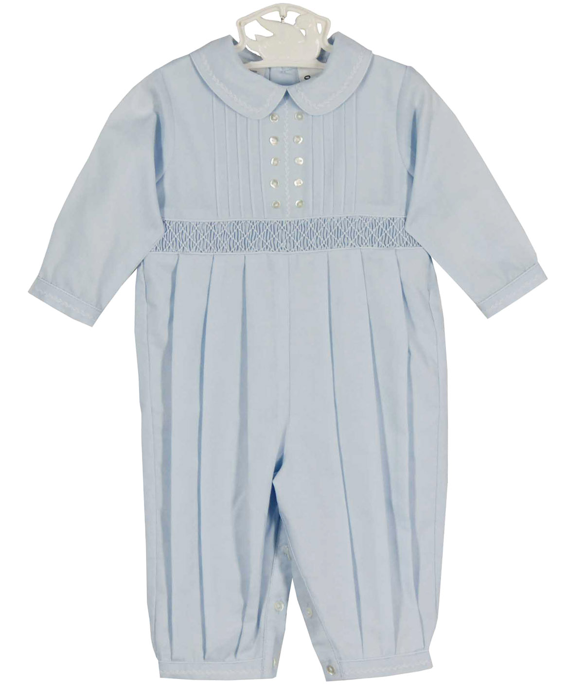 ce96df526 NEW Sarah Louise Blue Smocked Romper with Pintucks and White ...