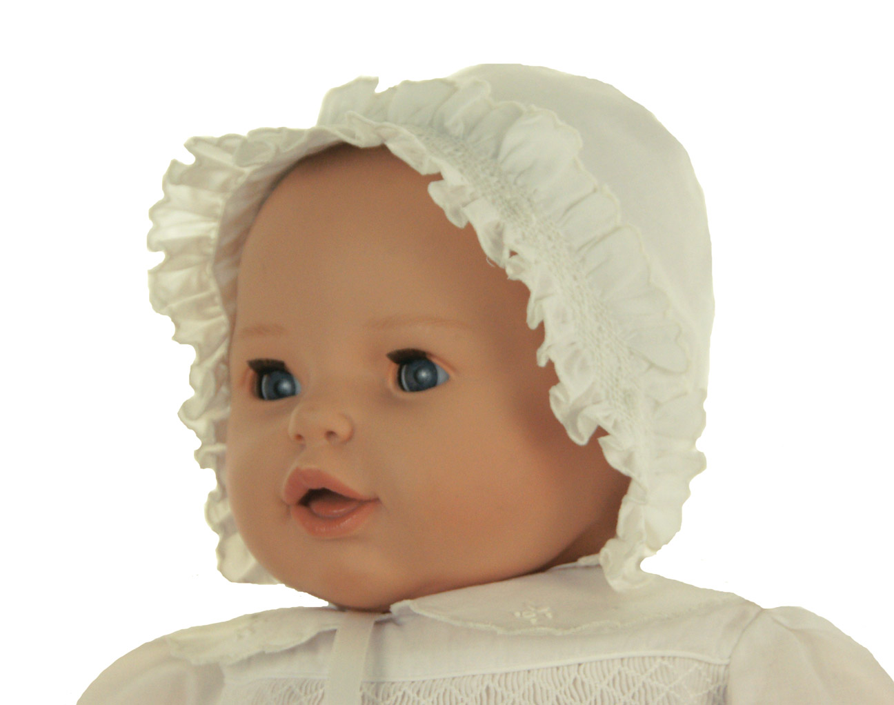 Sarah Louise Ivory Baby Bonnet With Smocked Face Ruffle