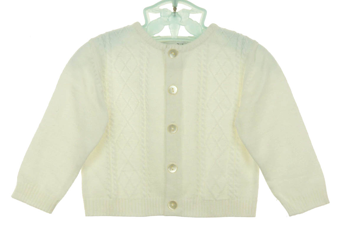 Sarah Louise ivory cotton knit baby boy sweater,Sarah Louise ivory ...