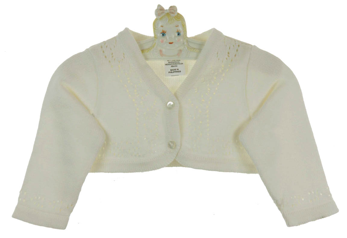 Sarah Louise ivory cotton cardigan sweater for baby girls,Sarah ...