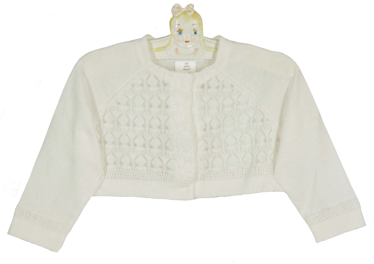 Sarah Louise ivory cotton knit bolero sweater with delicate ...