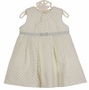 NEW Sarah Louise Ivory Linen Dress with Blue Dots