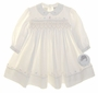 "<img src=""https://p11.secure.hostingprod.com/@grammies-attic.com/ssl/images/blue-sold-1.gif""> NEW Sarah Louise Ivory Smocked Baby Dress with Scalloped Collar"