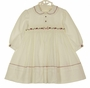 NEW Sarah Louise Ivory Smocked Dress with Cranberry and Pink Embroidered Flowers