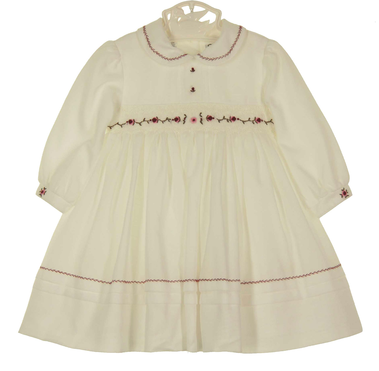 0156ccf0c NEW Sarah Louise Ivory Smocked Dress with Cranberry and Pink Embroidered  Flowers