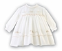 NEW Sarah Louise Ivory Smocked Dress with Peach Flowers and Openwork