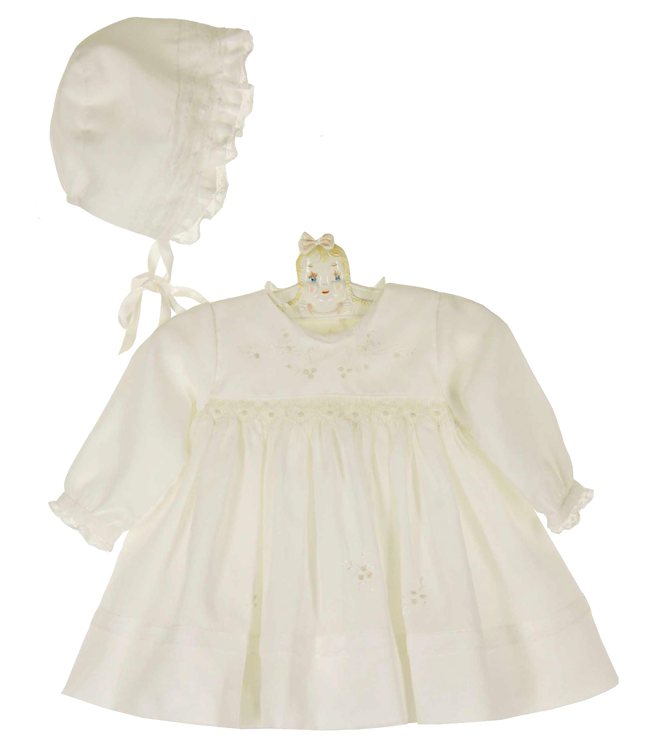 Sarah Louise ivory voile smocked dress with matching bonnet ivory