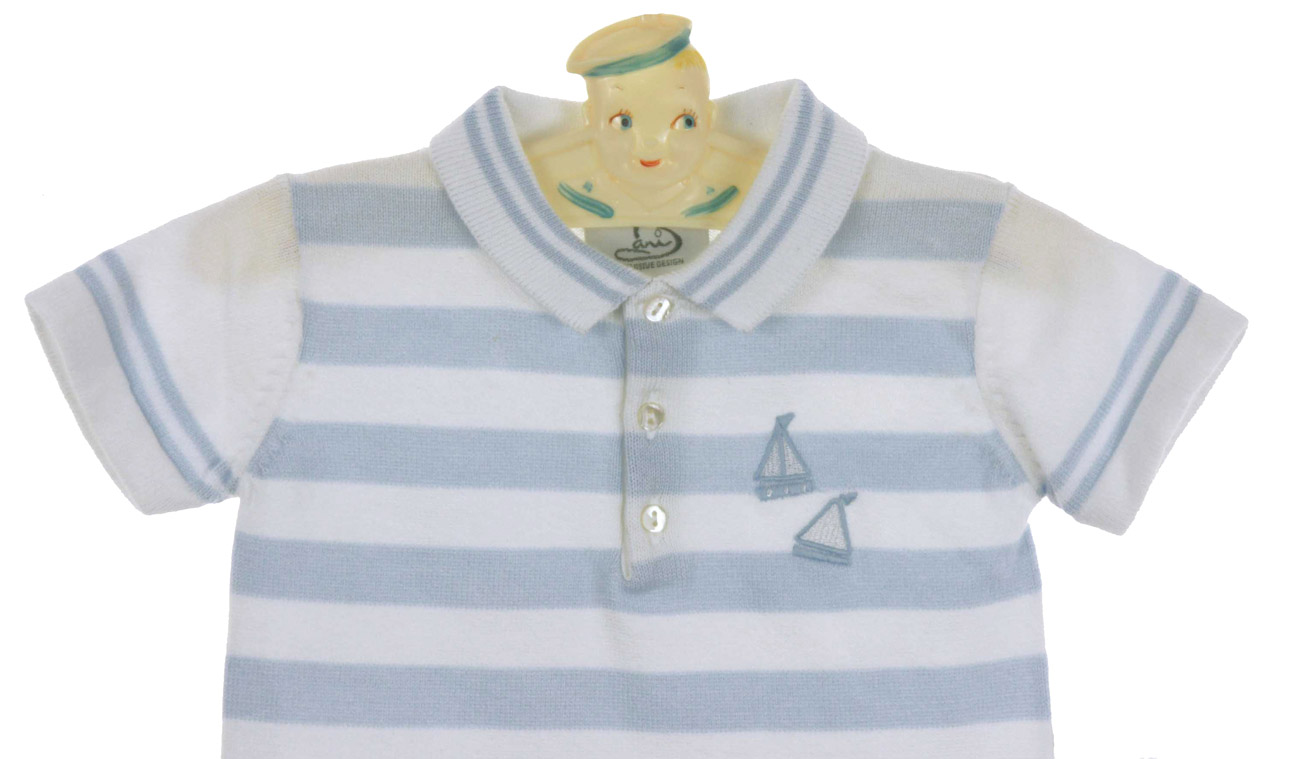 Sarah Louise Light Blue And White Cotton Strped Polo