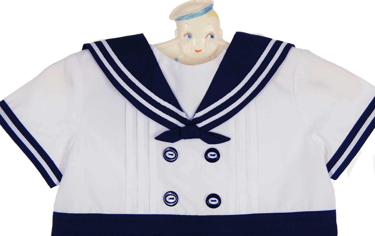 Sarah Louise Navy And White Sailor Romper Baby Boys Sailor