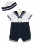 "<img src=""http://site.grammies-attic.com/images/blue-sold-1.gif""> NEW Sarah Louise Navy and White Sailor Suit with Matching Hat"