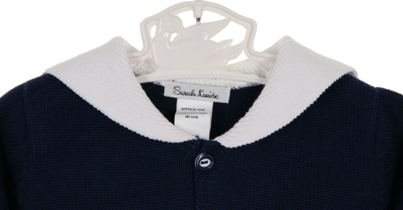 Sarah Louise navy cotton sweater with white sailor collar,baby ...