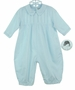 NEW Sarah Louise Pale Blue Pintucked Romper with Featherstitching