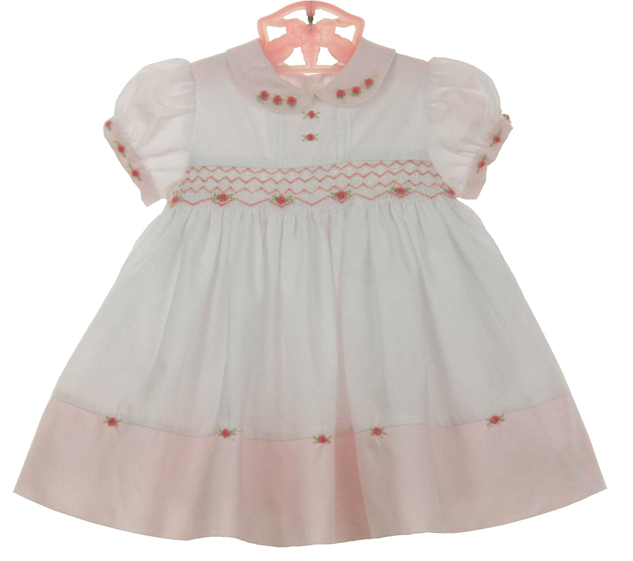8d4a422c8 NEW Sarah Louise Vintage Style Pink and White Smocked Dress with  Embroidered Rosebuds