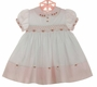 "<img src=""http://site.grammies-attic.com/images/blue-sold-1.gif"">  NEW Sarah Louise Vintage Style Pink and White Smocked Dress with Embroidered Rosebuds"