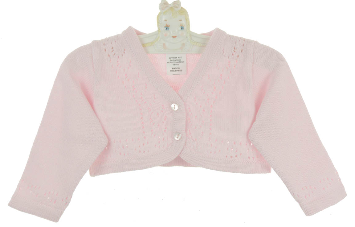 Sarah Louise pink cotton cardigan sweater for baby girls,Sarah ...