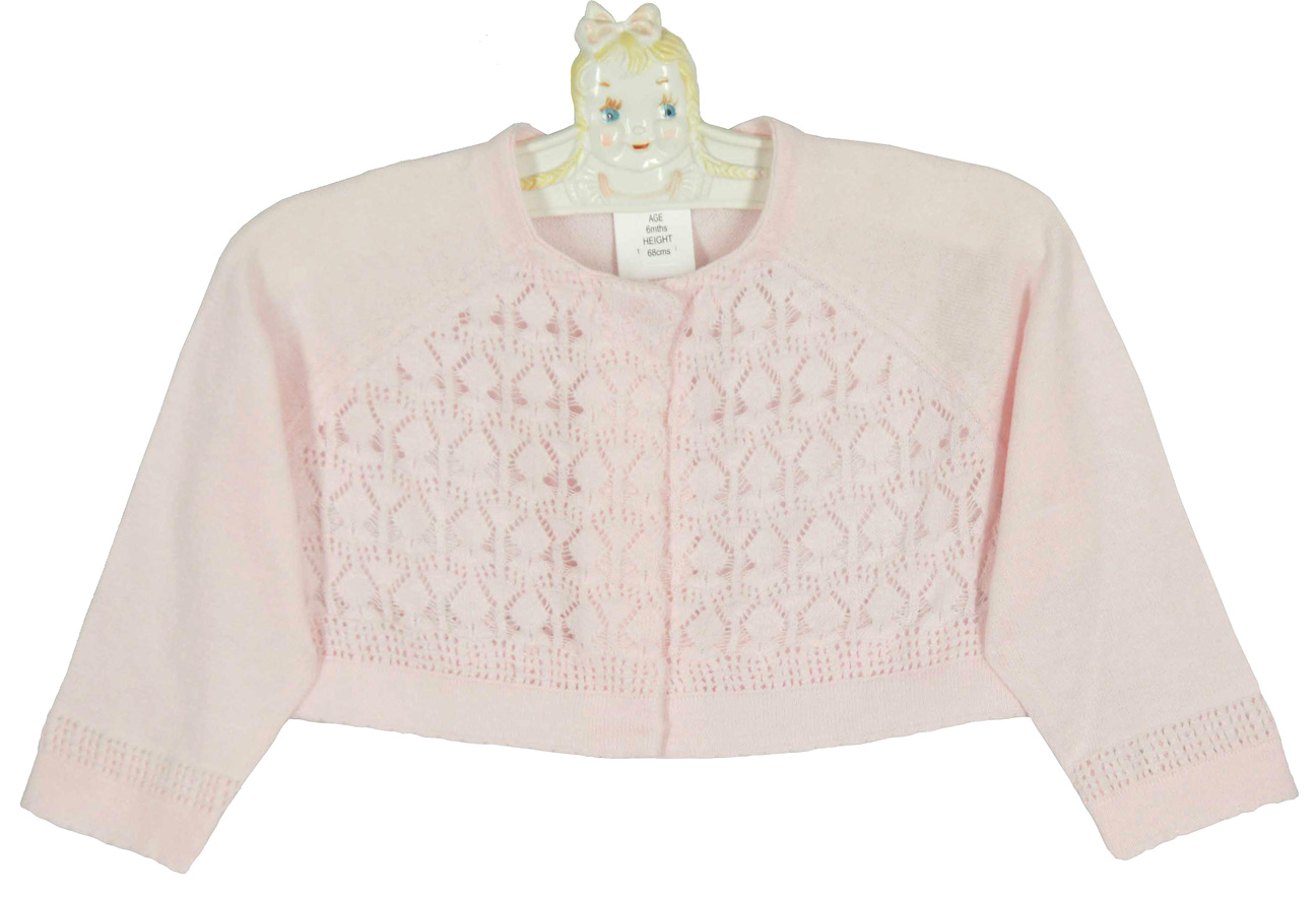 Sarah Louise pink cotton knit bolero sweater with delicate ...