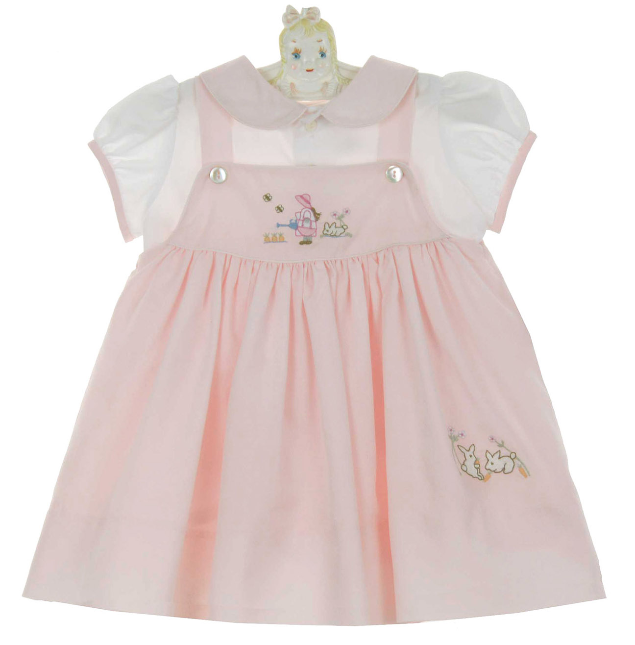 NEW Sarah Louise Pink Pinafore and Blouse Set with Bunny and Flower  Embroidery 76cb5fc54