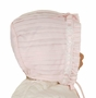NEW Sarah Louise Pink Pintucked Bonnet with Pink Ribbon Insertion