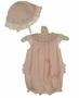 NEW Sarah Louise Pink Voile Smocked Bubble Set with Ruffled Bottom and Pink Butterfly Embroidery