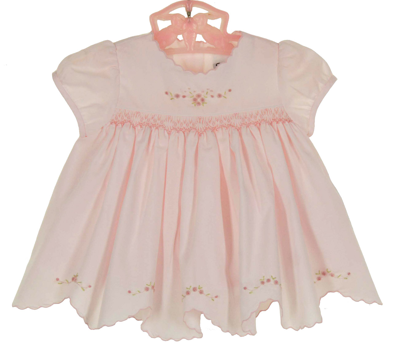 NEW Sarah Louise Pink Smocked Dress and Diaper Cover with Embroidered Pink  Rosebuds and Scalloped Hem 1167bfb2c7