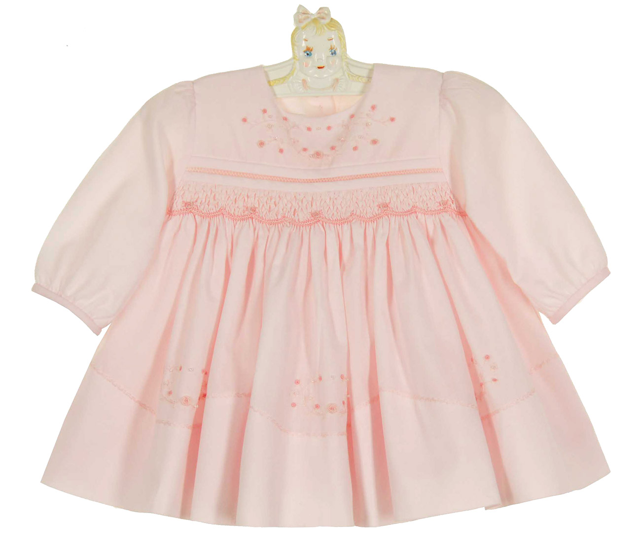 Sarah Louise pink smocked dress with beading and
