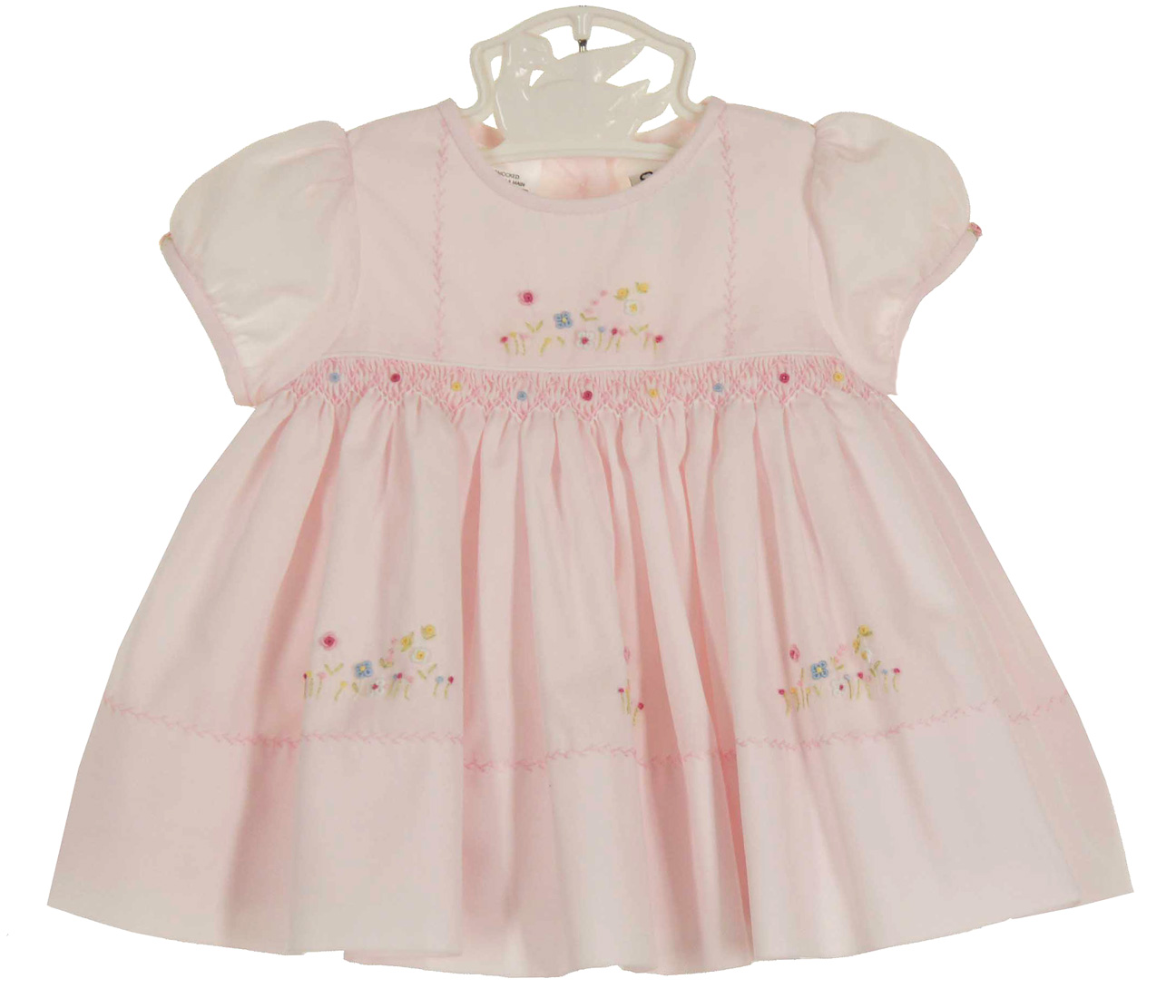 Sarah Louise pink smocked dress with embroidered flowers d9fc9f087