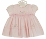 NEW Sarah Louise Pink Smocked Dress with Pastel Embroidered Flowers