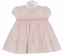 NEW Sarah Louise Pink Smocked Dress with Pink and White Embroidered Flowers