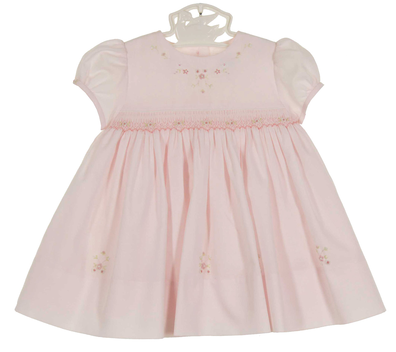 Sarah Louise pink smocked dress with pink and white