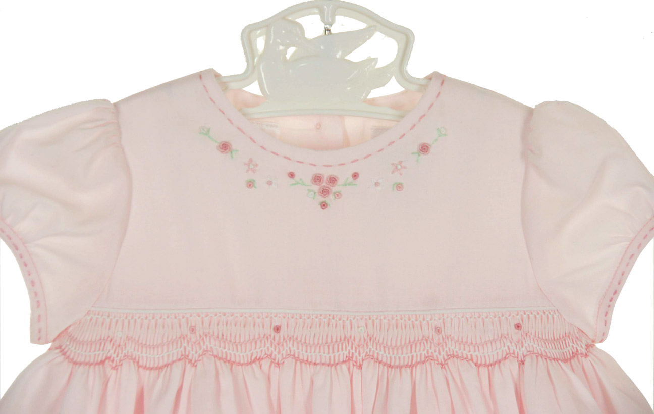 Sarah Louise pink smocked dress with embroidered flowers
