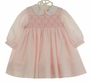 NEW Sarah Louise Pink Smocked Dress with White Collar and Pink Embroidered Rosebuds with Short Sleeves or Long Sleeves