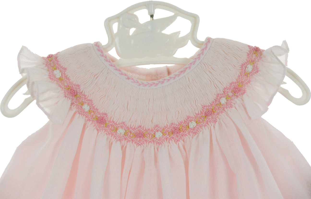 New Sarah Louise Pink Voile Bishop Smocked Dress With
